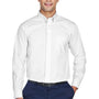 Devon & Jones Mens Crown Woven Collection Wrinkle Resistant Long Sleeve Button Down Shirt w/ Pocket - White