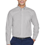Devon & Jones Mens Crown Woven Collection Wrinkle Resistant Long Sleeve Button Down Shirt w/ Pocket - Silver Grey