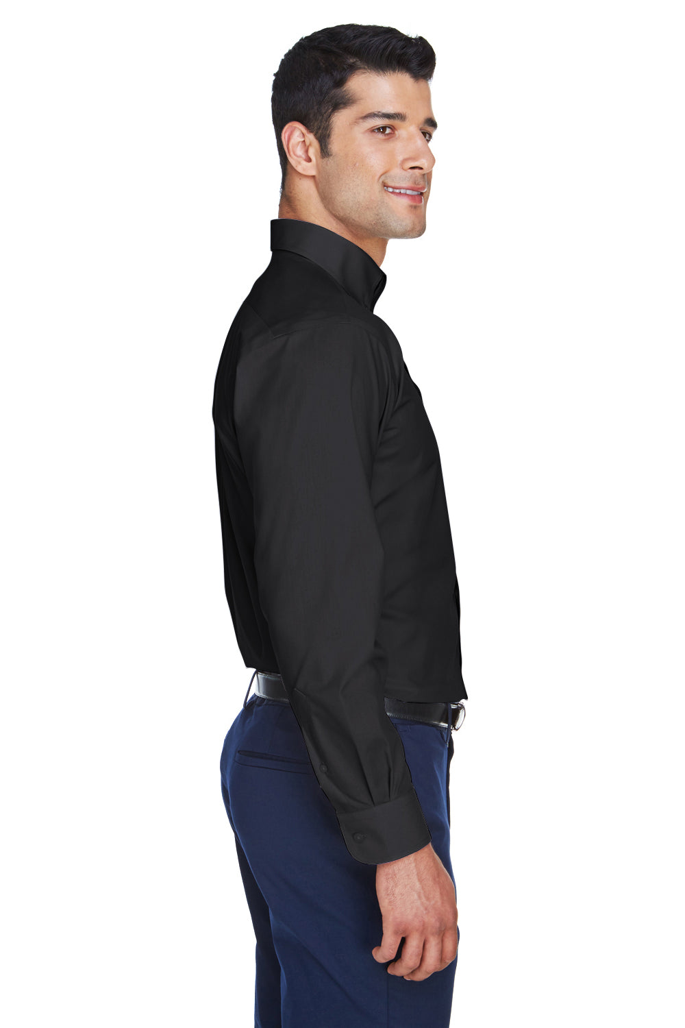 Devon & Jones D620 Mens Crown Woven Collection Wrinkle Resistant Long Sleeve Button Down Shirt w/ Pocket Black Side