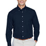 Devon & Jones Mens Crown Woven Collection Wrinkle Resistant Long Sleeve Button Down Shirt w/ Pocket - Navy Blue