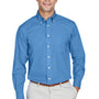Devon & Jones Mens Crown Woven Collection Wrinkle Resistant Long Sleeve Button Down Shirt w/ Pocket - French Blue