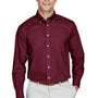Devon & Jones Mens Crown Woven Collection Wrinkle Resistant Long Sleeve Button Down Shirt w/ Pocket - Burgundy