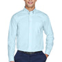 Devon & Jones Mens Crown Woven Collection Wrinkle Resistant Long Sleeve Button Down Shirt w/ Pocket - Crystal Blue