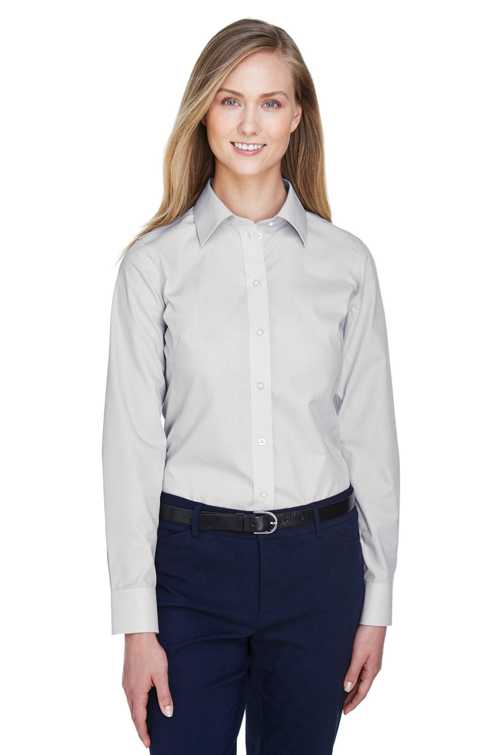 Devon & Jones D620W Womens Crown Woven Collection Wrinkle Resistant Long Sleeve Button Down Shirt Silver Grey Front