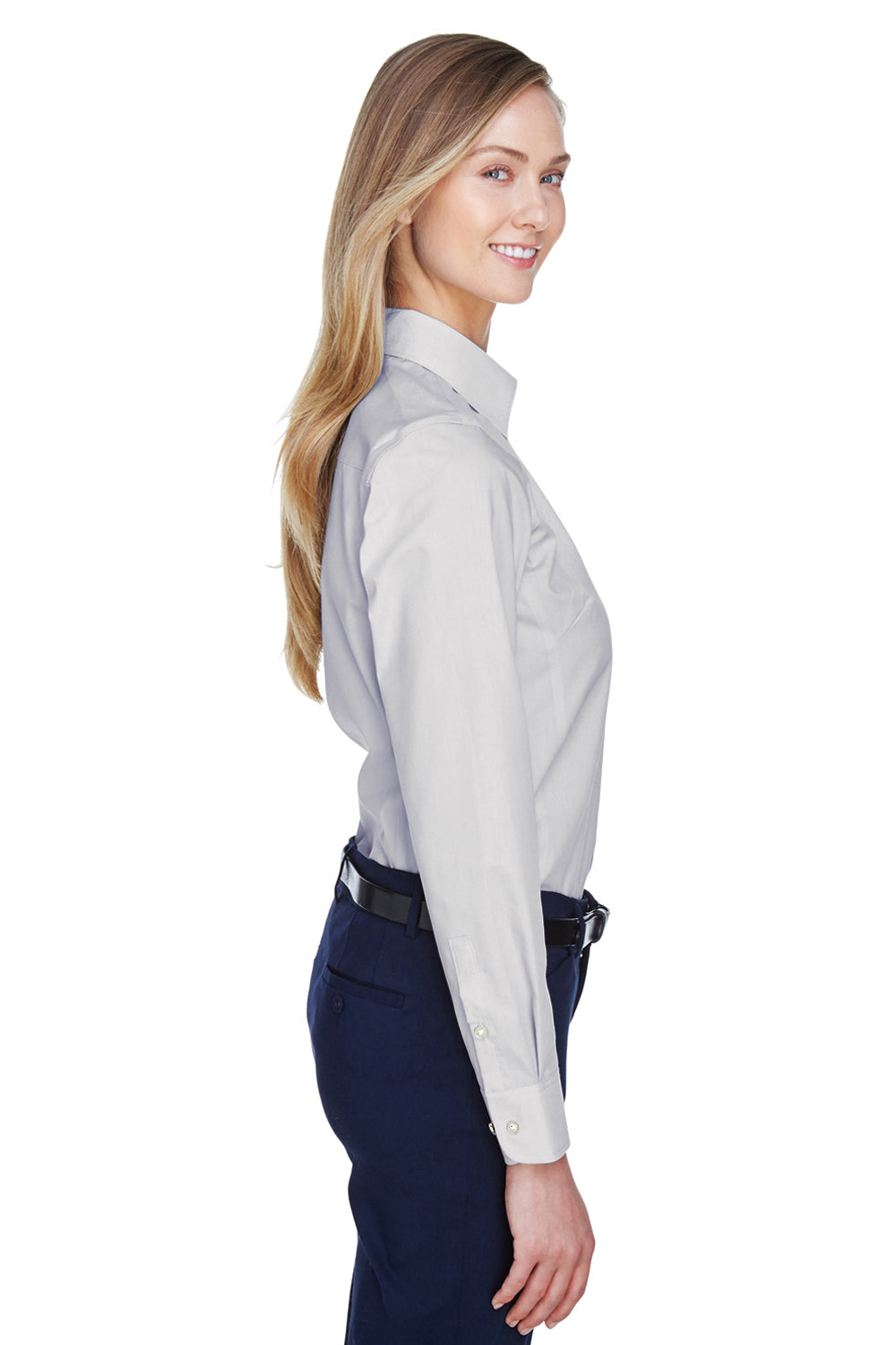 Devon & Jones D620W Womens Crown Woven Collection Wrinkle Resistant Long Sleeve Button Down Shirt Silver Grey Side
