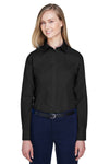 Devon & Jones D620W Womens Crown Woven Collection Wrinkle Resistant Long Sleeve Button Down Shirt Black Front