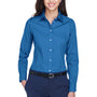 Devon & Jones Womens Crown Woven Collection Wrinkle Resistant Long Sleeve Button Down Shirt - French Blue