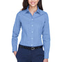 Devon & Jones Womens Crown Woven Collection Wrinkle Resistant Long Sleeve Button Down Shirt - Light Blue