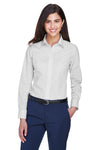 Devon & Jones D640W Womens Crown Woven Collection Wrinkle Resistant Long Sleeve Button Down Shirt Silver Grey Front