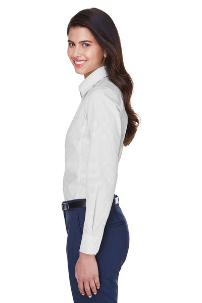Devon & Jones D640W Womens Crown Woven Collection Wrinkle Resistant Long Sleeve Button Down Shirt Silver Grey Side