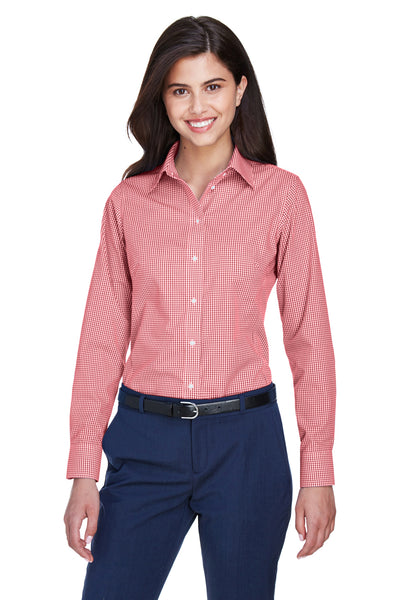 Devon & Jones D640W Womens Crown Woven Collection Wrinkle Resistant Long Sleeve Button Down Shirt Red Front