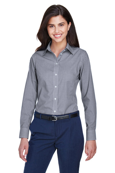 Devon & Jones D640W Womens Crown Woven Collection Wrinkle Resistant Long Sleeve Button Down Shirt Navy Blue Front