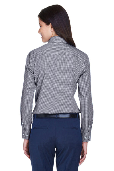 Devon & Jones D640W Womens Crown Woven Collection Wrinkle Resistant Long Sleeve Button Down Shirt Navy Blue Back