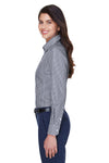 Devon & Jones D640W Womens Crown Woven Collection Wrinkle Resistant Long Sleeve Button Down Shirt Navy Blue Side