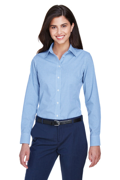 Devon & Jones D640W Womens Crown Woven Collection Wrinkle Resistant Long Sleeve Button Down Shirt French Blue Front
