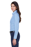 Devon & Jones D640W Womens Crown Woven Collection Wrinkle Resistant Long Sleeve Button Down Shirt French Blue Side