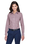 Devon & Jones D640W Womens Crown Woven Collection Wrinkle Resistant Long Sleeve Button Down Shirt Burgundy Front