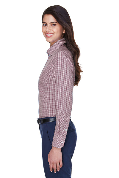 Devon & Jones D640W Womens Crown Woven Collection Wrinkle Resistant Long Sleeve Button Down Shirt Burgundy Side