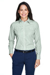 Devon & Jones D645W Womens Crown Woven Collection Wrinkle Resistant Long Sleeve Button Down Shirt Dill Green Front