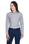 Devon & Jones D645W Womens Crown Woven Collection Wrinkle Resistant Long Sleeve Button Down Shirt Navy Blue Front