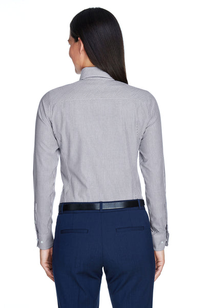 Devon & Jones D645W Womens Crown Woven Collection Wrinkle Resistant Long Sleeve Button Down Shirt Navy Blue Back