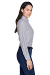 Devon & Jones D645W Womens Crown Woven Collection Wrinkle Resistant Long Sleeve Button Down Shirt Navy Blue Side