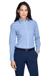 Devon & Jones D645W Womens Crown Woven Collection Wrinkle Resistant Long Sleeve Button Down Shirt French Blue Front