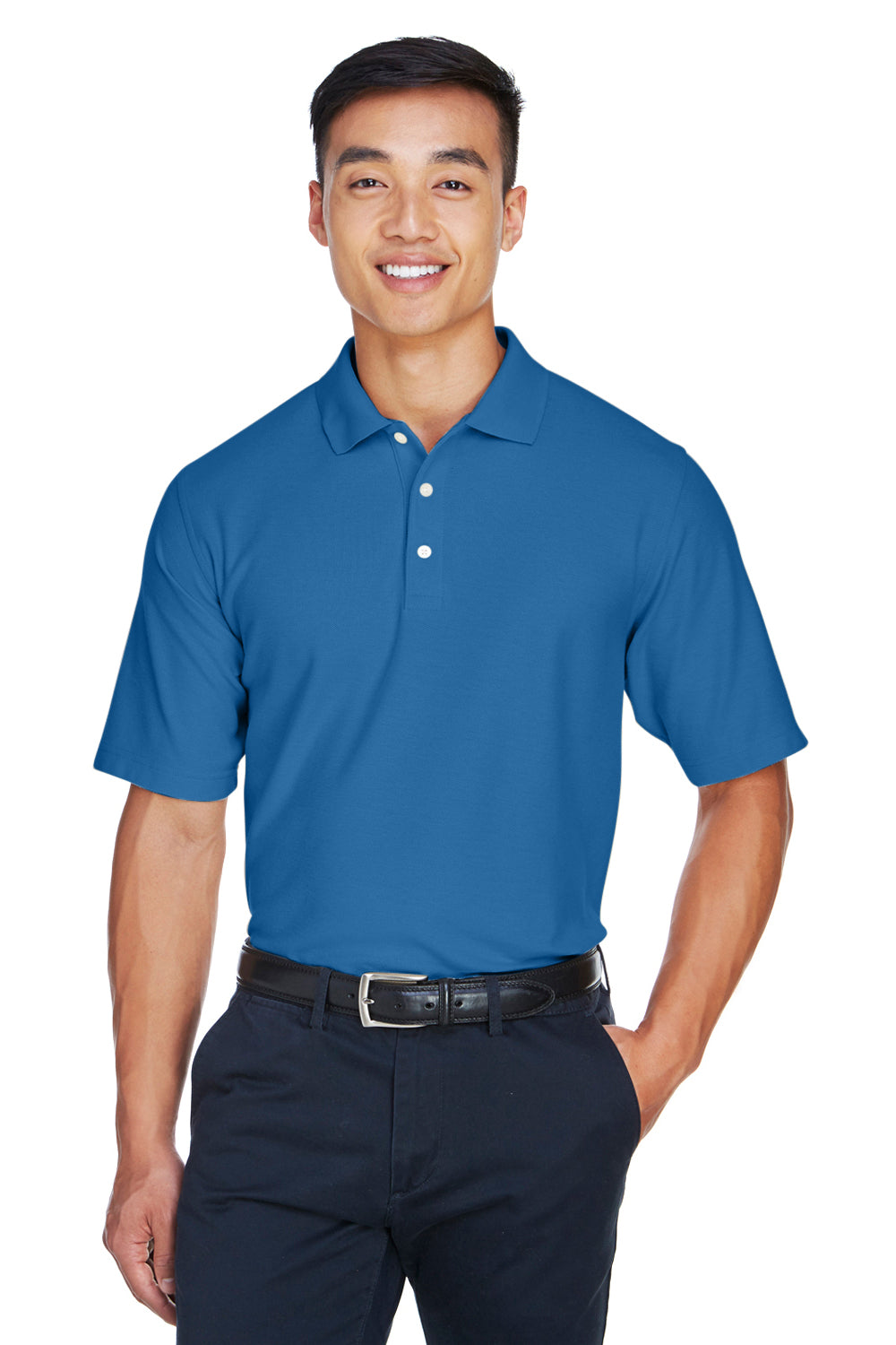 Devon & Jones DG150 Mens DryTec20 Performance Moisture Wicking Short Sleeve Polo Shirt French Blue Front