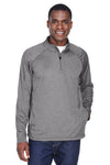 Devon & Jones DG440 Mens Compass Stretch Tech Moisture Wicking 1/4 Zip Sweatshirt Dark Grey Front