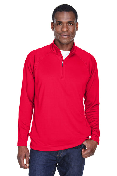 Devon & Jones DG440 Mens Compass Stretch Tech Moisture Wicking 1/4 Zip Sweatshirt Red Front