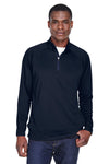 Devon & Jones DG440 Mens Compass Stretch Tech Moisture Wicking 1/4 Zip Sweatshirt Navy Blue Front