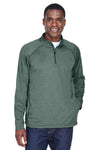 Devon & Jones DG440 Mens Compass Stretch Tech Moisture Wicking 1/4 Zip Sweatshirt Forest Green Front