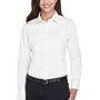 Devon & Jones Womens Crown Woven Collection Wrinkle Resistant Long Sleeve Button Down Shirt - White