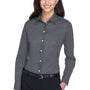 Devon & Jones Womens Crown Woven Collection Wrinkle Resistant Long Sleeve Button Down Shirt - Graphite Grey