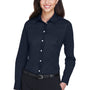 Devon & Jones Womens Crown Woven Collection Wrinkle Resistant Long Sleeve Button Down Shirt - Navy Blue
