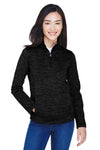 Devon & Jones DG798W Womens Newbury Fleece 1/4 Zip Sweatshirt Black Front