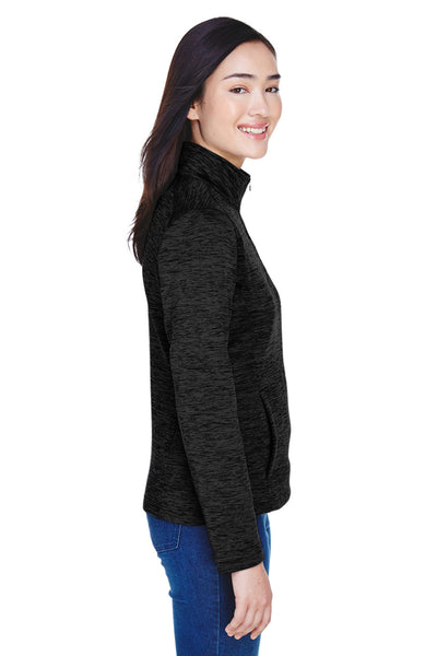 Devon & Jones DG798W Womens Newbury Fleece 1/4 Zip Sweatshirt Black Side