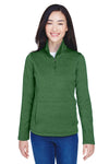 Devon & Jones DG798W Womens Newbury Fleece 1/4 Zip Sweatshirt Forest Green Front