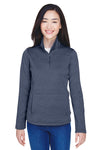 Devon & Jones DG798W Womens Newbury Fleece 1/4 Zip Sweatshirt Navy Blue Front