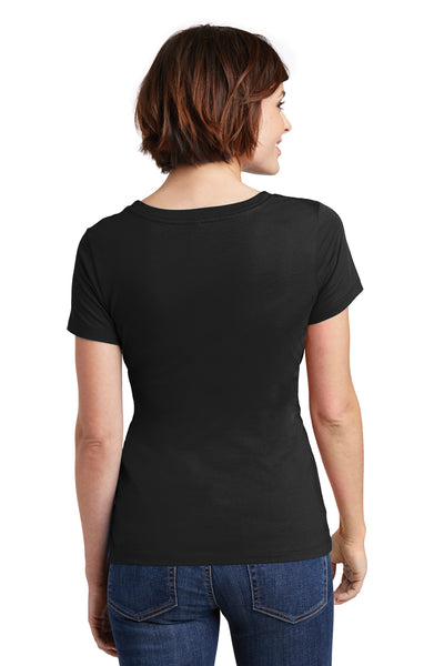 District DM106L Womens Perfect Weight Short Sleeve Scoop Neck T-Shirt Black Back