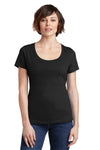 District DM106L Womens Perfect Weight Short Sleeve Scoop Neck T-Shirt Black Front
