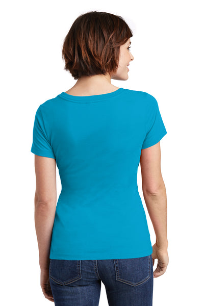 District DM106L Womens Perfect Weight Short Sleeve Scoop Neck T-Shirt Turquoise Blue Back