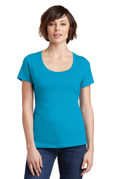 District DM106L Womens Perfect Weight Short Sleeve Scoop Neck T-Shirt Turquoise Blue Front