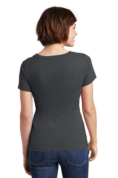 District DM106L Womens Perfect Weight Short Sleeve Scoop Neck T-Shirt Charcoal Grey Back
