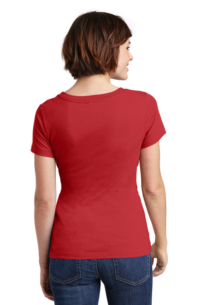 District DM106L Womens Perfect Weight Short Sleeve Scoop Neck T-Shirt Red Back