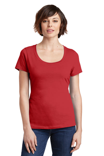 District DM106L Womens Perfect Weight Short Sleeve Scoop Neck T-Shirt Red Front