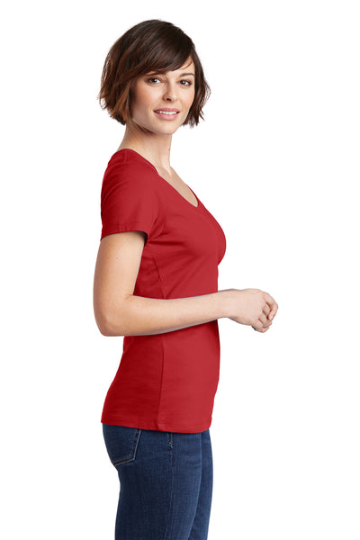 District DM106L Womens Perfect Weight Short Sleeve Scoop Neck T-Shirt Red Side