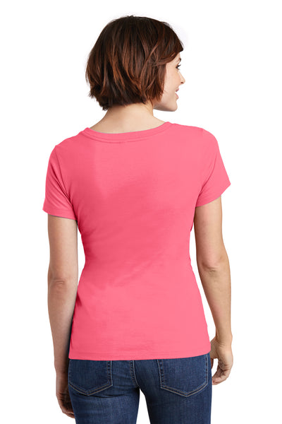 District DM106L Womens Perfect Weight Short Sleeve Scoop Neck T-Shirt Coral Pink Back
