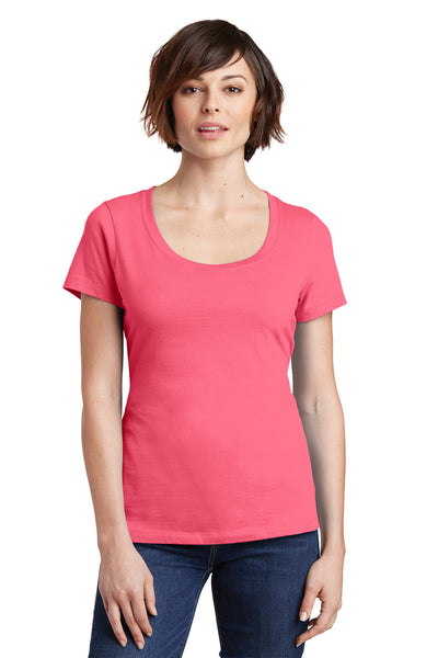 District DM106L Womens Perfect Weight Short Sleeve Scoop Neck T-Shirt Coral Pink Front