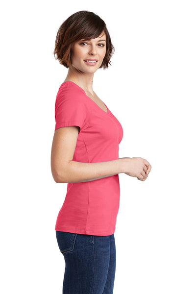 District DM106L Womens Perfect Weight Short Sleeve Scoop Neck T-Shirt Coral Pink Side